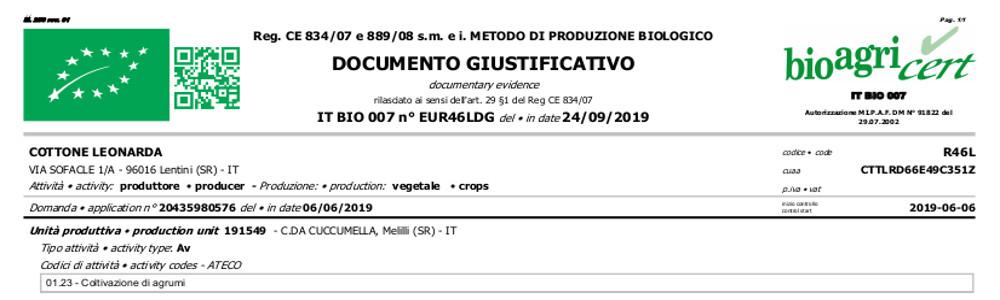 Certificazione biologica arance rosse Pappalardo
